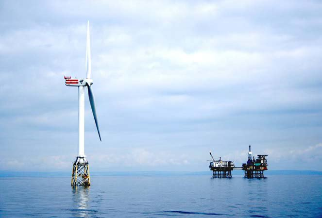 REPower 5M wind turbine, currently the world's largest, in the Scottish North Sea.